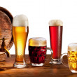 Beer barrel with beer glasses. - Stock Photo
