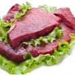 Stock Photo: Raw meat on lettuce leaves.