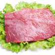 Raw meat on lettuce leaves. - Photo