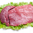 Raw meat on lettuce leaves. — Foto de Stock