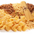 Variations of italian macaroni isolated on white background. - Stock Photo
