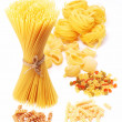 Stock Photo: Variations of italian macaroni isolated on white background.
