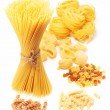 Variations of italian macaroni isolated on white background. — Stock Photo