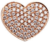 Heart in the form of diamonds on a gold surface. — Stock Photo