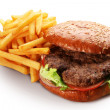 Stock Photo: Hamburger and french fries.