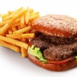 Hamburger and french fries. - Stock Photo
