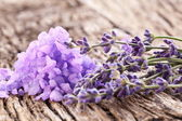 Bunch of lavender and sea salt. — Stock Photo