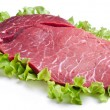 Raw meat on lettuce leaves. - Stock fotografie