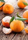 Mandarinen mit blättern. — Stockfoto