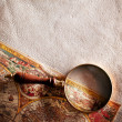 Magnifying glass on old parchment. - Foto Stock
