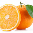 Orange with leaf on a white background. — Stock Photo