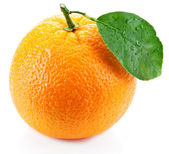 Orange with leaf on a white background. — Φωτογραφία Αρχείου