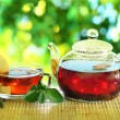 Stock Photo: Cup of tea and teapot.
