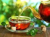 Fincan çay ve çaydanlık. — Stok fotoğraf