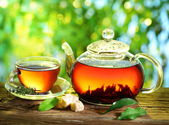 Tazza di tè e teiera. — Foto Stock
