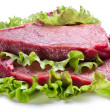Royalty-Free Stock Photo: Raw meat on lettuce leaves.
