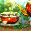 Cup of teand teapot. — Stock Photo #20399921