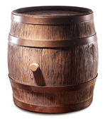 Wooden barrel with iron rings. — Stock Photo
