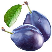 Two plums with a leaf — Stock Photo
