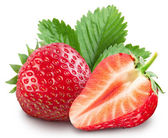 Strawberries with leaves. — Foto Stock