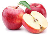 Red apple with leaf and slice. — Stock Photo