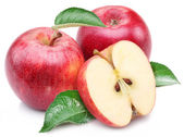 Pomme rouge avec feuille et tranche. — Photo