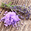 Lavender salt with bunch — Stock Photo