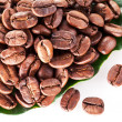 Coffee beans on leaf. — Stock Photo