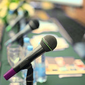 Microphones in the conference room. — Stock Photo