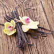 Stock Photo: Vanilla sticks with a flower.