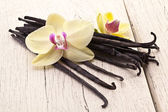 Vanilla sticks with a flower. — Stock Photo