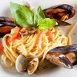Pasta with seafood — Stock Photo #30872879