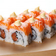 Salmon sushi rolls. — Stock Photo