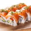 Salmon sushi rolls — Stock Photo #30873587