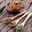 Variety of spices in the spoons. — Stock Photo