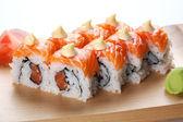 Salmon sushi rolls. — Stock Photo