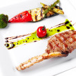 Stock Photo: Grilled meat and vegetables.
