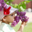 Stock Photo: Baby girl sniffing lilac.