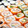 Stock Photo: Variety of japanese sushi rolls.