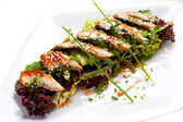 Light meal from eel. — Stock Photo