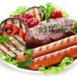 Grilled steak,sausages and vegetables. — Stock Photo #32808989