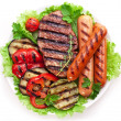 Grilled steak,sausages and vegetables. — Stock Photo #32809123