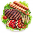 Grilled steak,sausages and vegetables. — Stock Photo #32809127