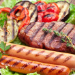 Grilled steak,sausages and vegetables. — Stock Photo #32809749