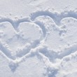 The shapes of heart on the snow. — Stock Photo