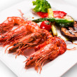 Grilled shrimps and vegetable. — Stock Photo
