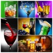 Collection of images of alcohol in different ways. — Stock Photo