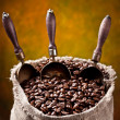 Stock Photo: Sack of coffee beans and scoop. On a dark background.