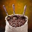 Sack of coffee beans and scoop — Stock Photo
