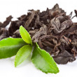 Stock Photo: Heap of dry tea with green tea leaves.